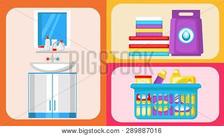 House Cleaning Supplies Flat Illustrations Set. Water Tap, Sink And Vanity Vector Clipart. Mirror An