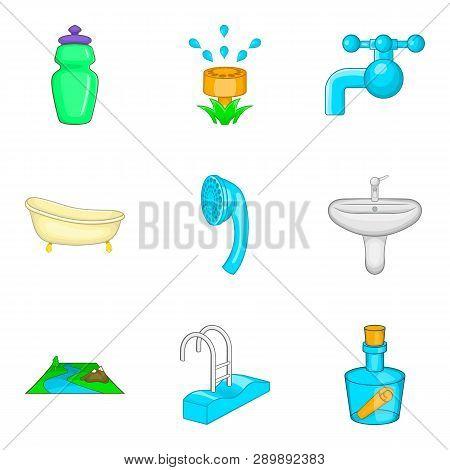 Backwash Icons Set. Cartoon Set Of 9 Backwash Icons For Web Isolated On White Background
