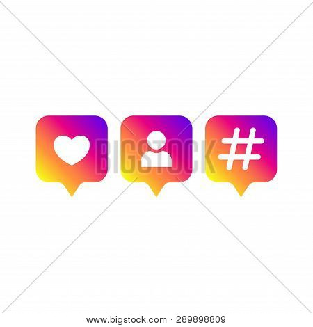 Social Media Modern Like, Follower, Hashtag Gradient Color. Like, Follower, Comment Button, Icon, Sy