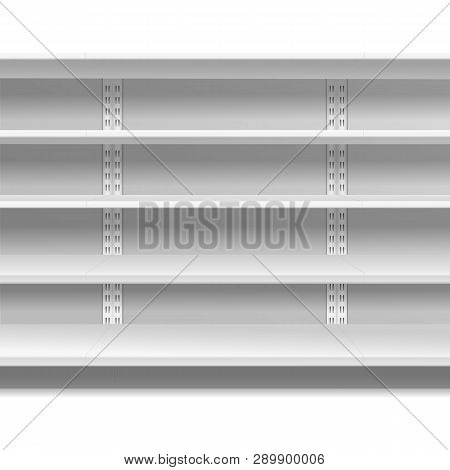 Retail Shelves. White Supermarket Retail Rack Display Shop Shelving Blank Seamless Shelves Empty Sto
