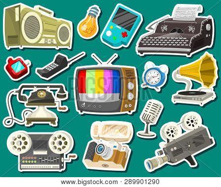 Vintage Devices Icons. Retro Tech Media, Television Tv, Audio Radio Music, Electronic Sound Recorder