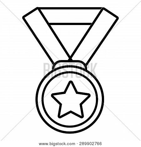 Hockey Champion Medal Icon. Outline Illustration Of Hockey Champion Medal Icon For Web Design Isolat