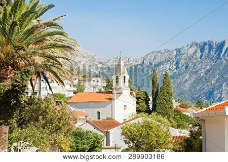 Brist, Dalmatia, Croatia, Europe - Church Of Brist In Front Of The Mountains