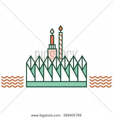 Loy Kratong Festival Vector Illustration In Line Color Design