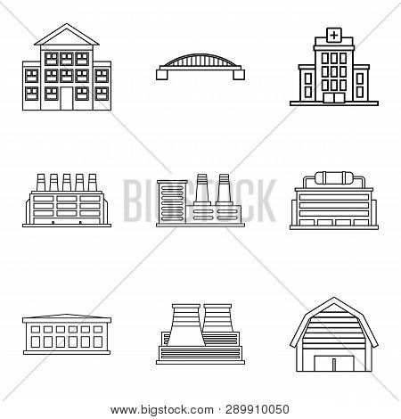 Frontage Icons Set. Outline Set Of 9 Frontage Icons For Web Isolated On White Background