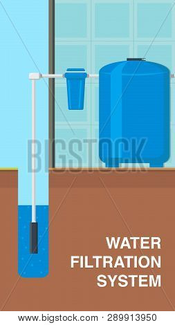 Water Filtration System Vector Flyer, Brochure. Reservoir, Tank With Pure Liquid. Water Supply And P