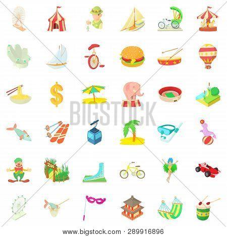 Journey Icons Set. Cartoon Style Of 36 Journey Icons For Web Isolated On White Background