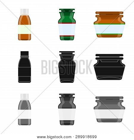 Vector Illustration Of Retail And Healthcare Sign. Set Of Retail And Wellness Stock Symbol For Web.
