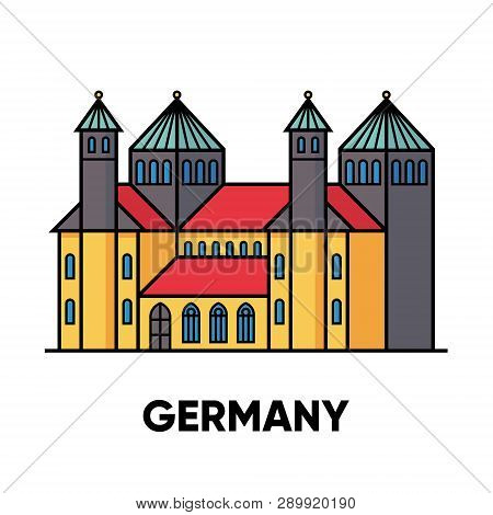 Germany, Hildesheim, St. Mary's Cathedral And St. Michael's Church, Vector Travel Illustration