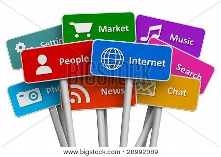 Internet and social media concept: set of color signs with icons of internet and social media services isolated on white background poster
