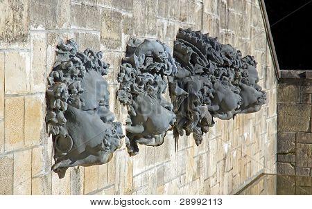 masks, head of a decorative fountain