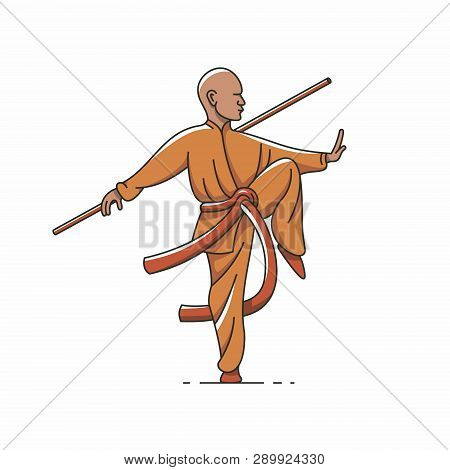 Qigong, Tai Chi, Vector Outline Illustration, White Background.