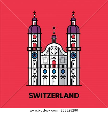 Switzerland, Abbey Of Saint Gall, Vector Travel Illustration, Flat Icon, Red Background