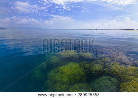 Beautiful Coral Reef During Low Tide Water In The Sea Beautiful Light Sunrise Dramatic Sky Over Sea