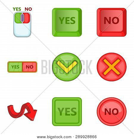 Choose Answer Icons Set. Cartoon Set Of 9 Choose Answer Icons For Web Isolated On White Background