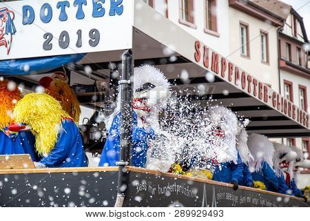 Basel, Switzerland - March 11, 2019: Participants At The Parade Of The Carnival Of Basel. The Carniv