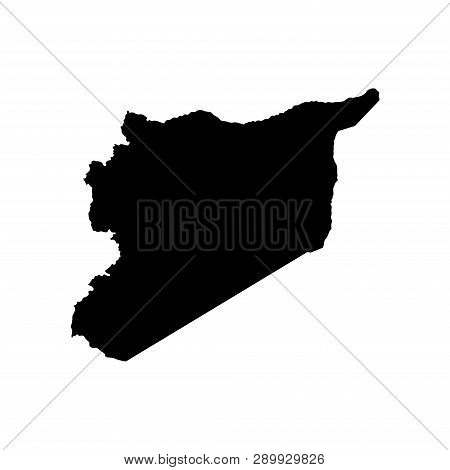 Vector Isolated Illustration Icon With Simplified Map Of Syrian Arab Republic (syria). Black Silhoue
