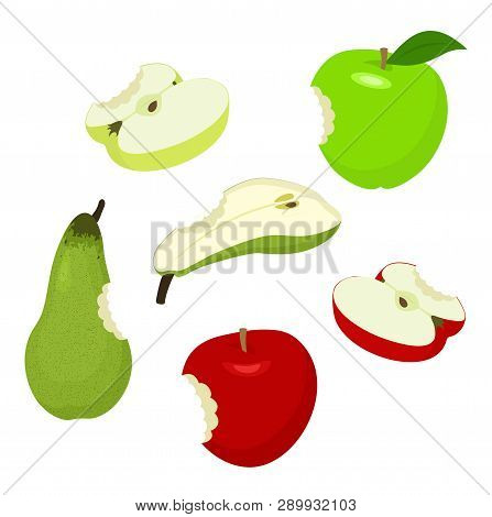 Bitteb Apple And Pear. Set Of Red, Green, Half, Sliced, Bitten, Apples And Pear. Vector Illustration