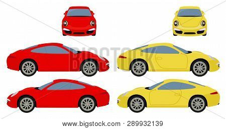 Car Vector Template On White Background. Coupe Car Isolated. Vehicle Branding Mockup. Side, Front Vi