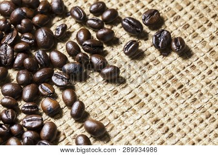 Coffee Beans On Vintage ,canvas And Coffee Beans Photo Background