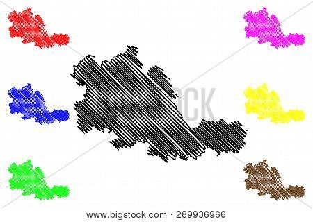 West Midlands (united Kingdom, England, Metropolitan County) Map Vector Illustration, Scribble Sketc