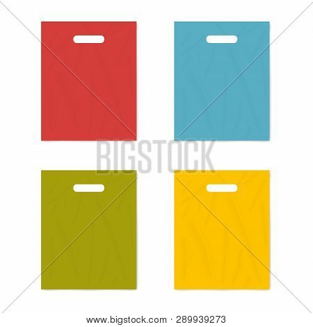 Colorful Merchandise Plastic Bag With Die Cut Handles Isolated On White Background, Realistic Vector