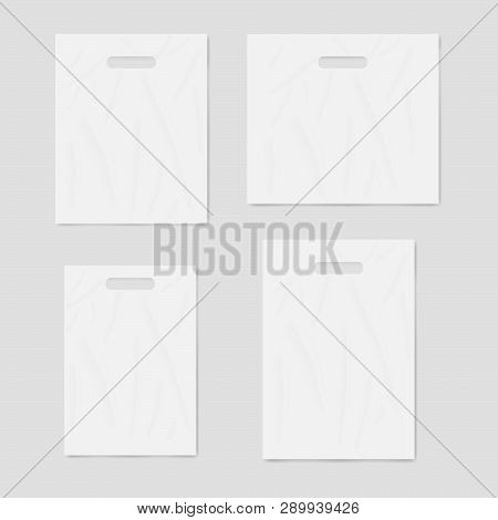 White Blank Merchandise Plastic Bags With Die Cut Handles, Realistic Vector Mockup Set. Template For