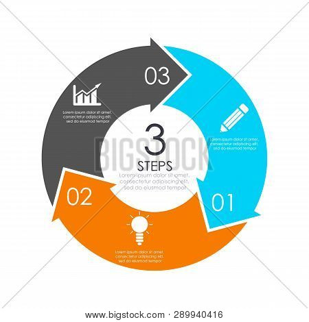 Vector Circle Chart Infographic Template With Arrow For Cycle Diagram, Graph, Web Design. Business C