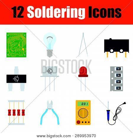 Set Of Soldering  Icons. Full Color Design. Vector Illustration.
