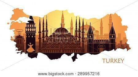 Abstract Landscape Of Istanbul With The Main Sights In The Form Of A Map Of Turkey