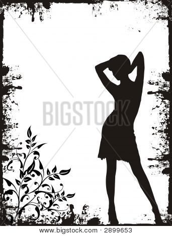 Girl On Grunge Background