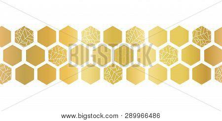 Gold Foil Hexagon Shapes Seamless Vector Border. Geometric Golden Hexagons With Texture. Elegant Des
