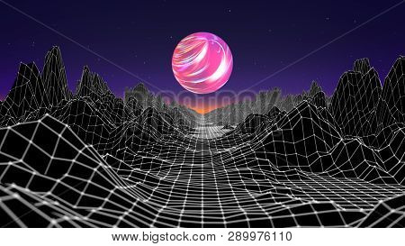 Hipster Game From 80s Cyber Futuristic Illustration. Digital Oldschool Game Landscape Wave Image Wit