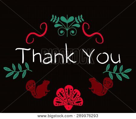 Thank You - Handwritten Phrase In Folk Style. In Folk Style For Posters, T-shirts And Wall Art. Vect