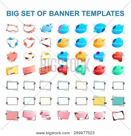 B Set Of Banner Templates, Frames For Text. Set Of Elements For Design, Advertising, Website.