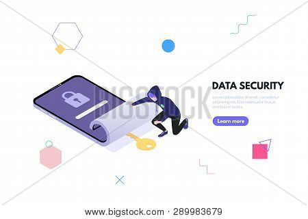 Concept Data Security And Data Leakage. Thief Hacker In The Hood Steals Password And Gets Access To
