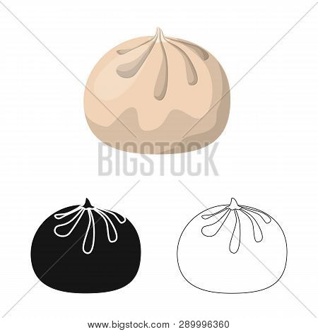 Isolated Object Of Baozi And Khinkali  Sign. Set Of Baozi And Breakfast  Vector Icon For Stock.