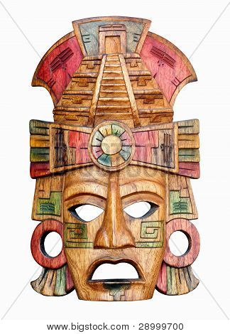 Hand carved wooden Mayan mask