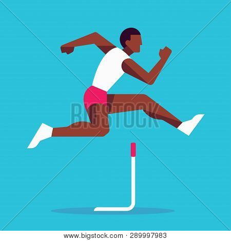 Black Athlete Jumping In Hurdle Race, Simple Stylized Geometric Vector Illustration. Modern Flat Sty