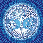 Mandala Tree of Life. Symbolic tree on blue openwork background. Symbols of the sun, moon and aum / om / ohm sign. Vector graphics. poster