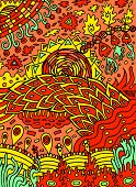 Colorful hippie psychedelic abstract doodle art. Hand drawn cartoon illustration. Vector artwork poster