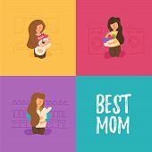 Director sends a set of household chores; the mother prepares lunch and dinner; eats things; wears things in the laundry; many cases combining work with household chores best mom. poster