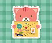 Lovely Cat is Holding a Love Envelope. Valentine Design. poster