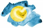 Palau flag  is depicted in liquid watercolor style isolated on white background poster