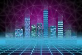 Urban background: futuristic hi-tech city in neon glow. Synthwave, retrowave, abstract metropolis and primitive megalopolis. poster
