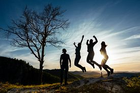 Friends Have Fun At Sunset. Funny Friends. A Group Of People In Nature. Silhouettes Of Friends. Best