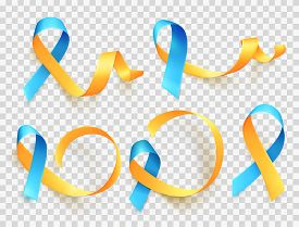 World Down Syndrome Day. March 21. Realistic Blue Yellow Ribbon Symbol Set. Template For Poster. Vec