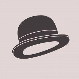 Gentleman Vintage Bowler Hat Black And White Illustration.