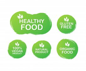 Vector Set Colorful Labels For Food, Nutrition. Collection Icons. Healthy Food, Gluten Free, 100 Veg