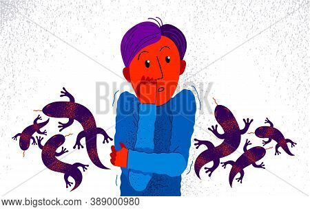 Herpetophobia Fear Of Reptiles Snakes And Lizards Vector Illustration, Boy Surrounded By Imaginary R